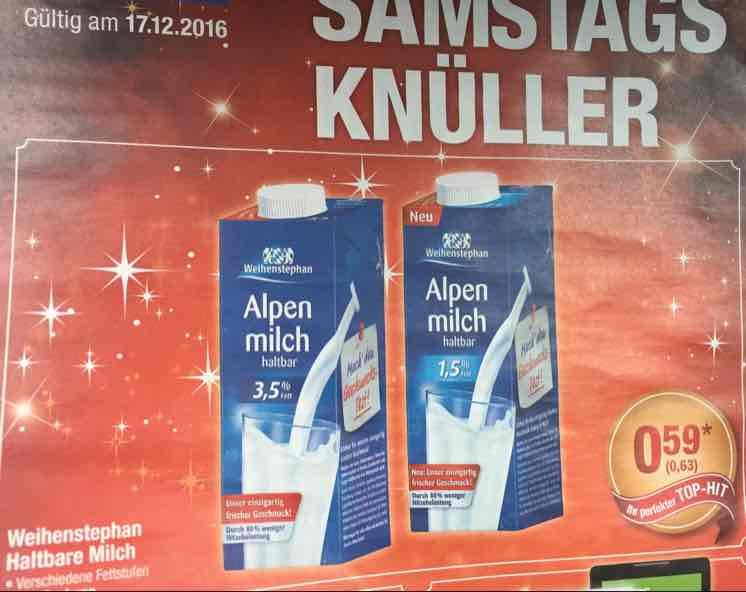 [Metro] Weihenstephan Alpenmilch, 3,5 oder 1,5% für 63cent