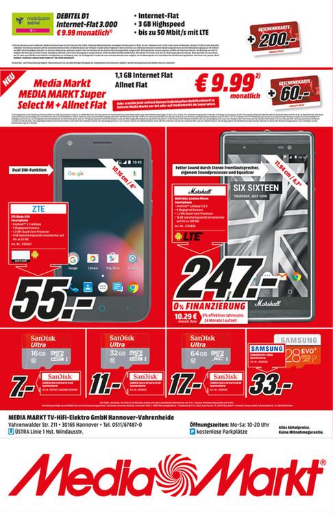 (Lokal Hannover) Mediamarkt D1 3gb LTE  Mobilcom Debitel Datenflat mit 200 EUR Einkaufsgutschein
