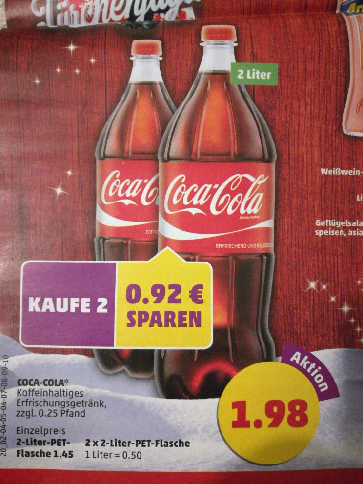 [Penny] 2x Coca-Cola 2l für 1,98€ (Liter/0,50€)