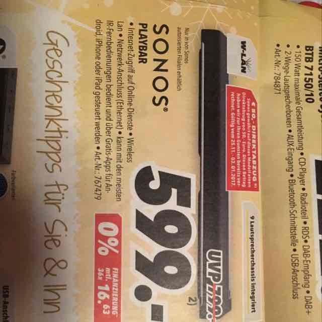 Lokal: Sonos Playbar schwarz [MediMax Halle, WSF, MER]