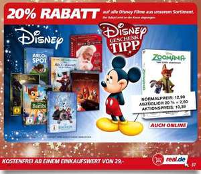 20% Rabatt auf alle Disney Filme bei real