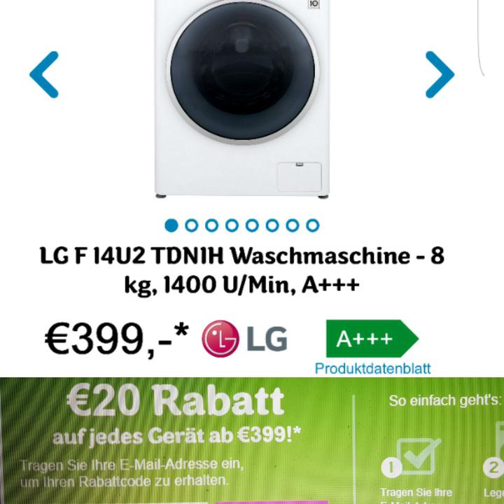 [@ ao.de] LG F 14U2 TDN1H 8kg Waschmaschine für 399 €