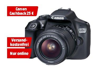 CANON EOS 1300 D + 18-55MM IS II  - 18MP WLAN Spiegelreflexkamera mit Objektiv + 25 Euro Cashback [mediamarkt.de]