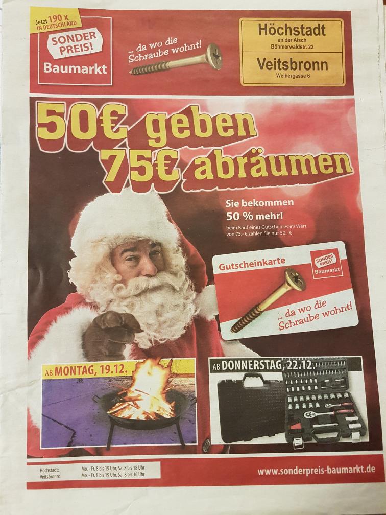 75€ Baumarkt-Gutschein für 50€ [inzwischen bundesweit Sonderpreis-Baumarkt]