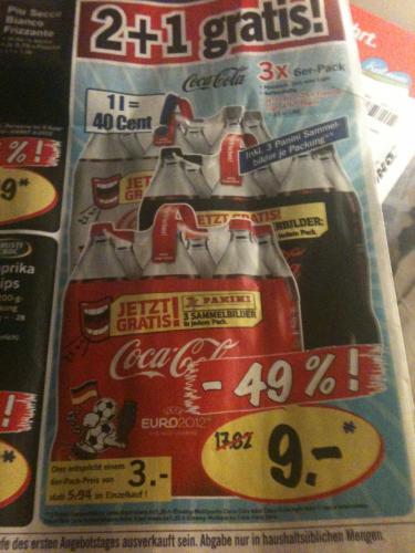 Coca  Cola 6x1,25l 3,00 € Lidl am 09.06.12