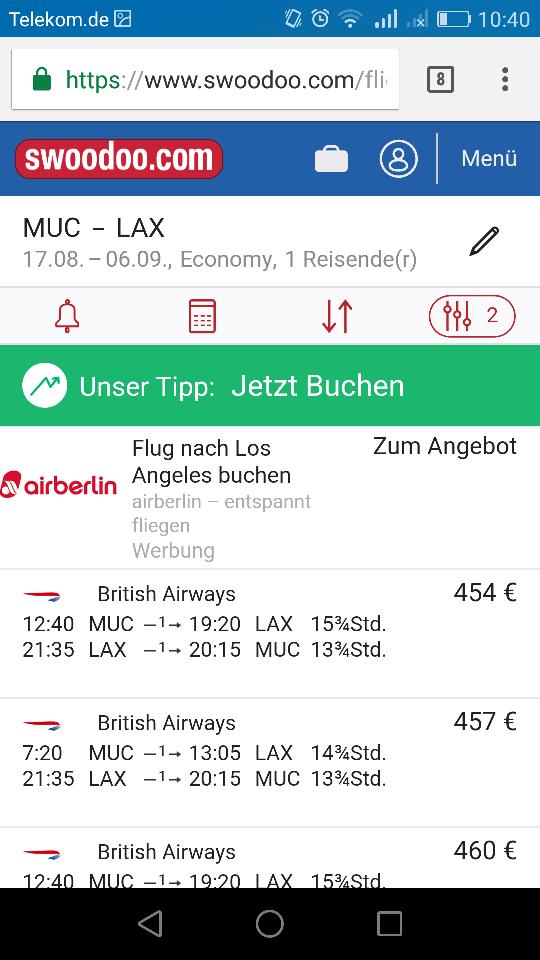 Sommerferien Flug für 450 EUR nach Los Angeles aus Stuttgart, München, Düsseldorf, Frankfurt mit British Airways oder IBERIA