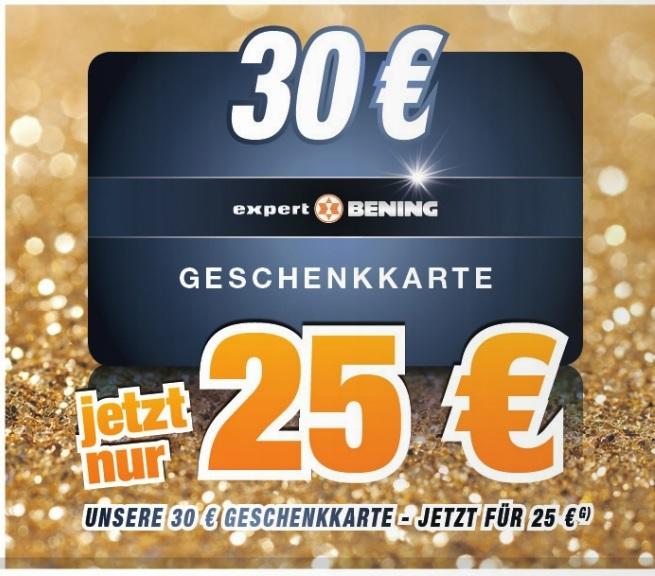 Expert Bening: 30€ Geschenkkarte für 25€