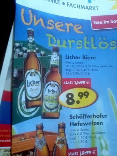 Kasten Licher Bier für 9€