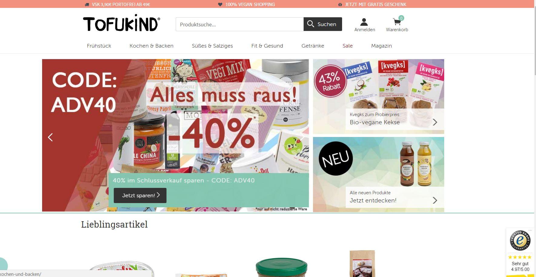 40% Rabatt auf alles bei Tofukind.de - auch auf SALE-Artikel (Teatox etc.)