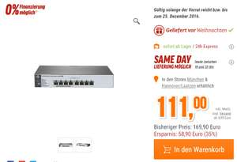 [NBB] HP Gigabit 8-Port PoE+-Switch 1820-8G-PoE+ (115,99€)