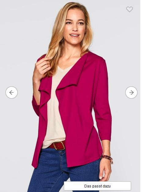 Bonprix Damen - Shirtjacke mit Wasserfallkragen, 4 Farben zur Auswahl, Gr. 32 - 46