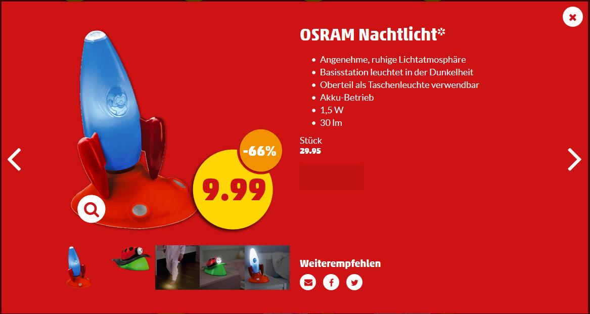Osram Nachtlicht für 9,99€. Verschiede Designs ab dem 22.12 bei Penny [Lokal?]. PVG ab 14,02€.