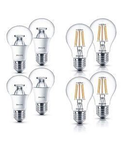 4er Pack Philips LED-Lampen E27 9,5W (60W) 4,3W (40W) 806 lm/470lm div. Modelle