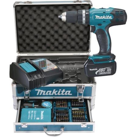 Makita DHP453RFX2 18V (2x 3,0Ah Akku) +  96-Teile Zubehör