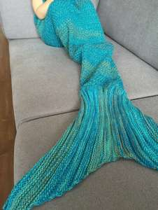 Fashion Stripe Knitted Mermaid Tail Design Blanket