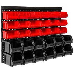 Werkstatt Wandregal mit 30 Stapelboxen für Kleinteile [Ebay]