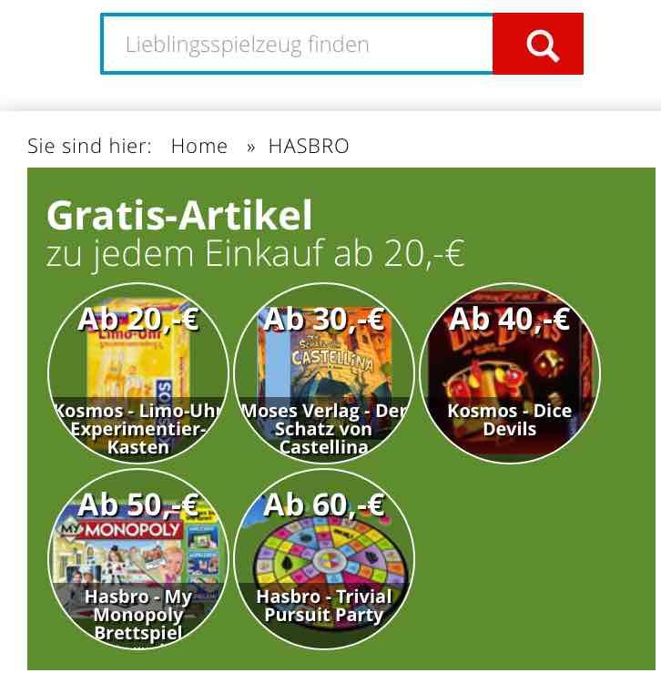 Rappelkiste Spielwaren Gratis Artikel zu jedem Einkauf ab 20 €