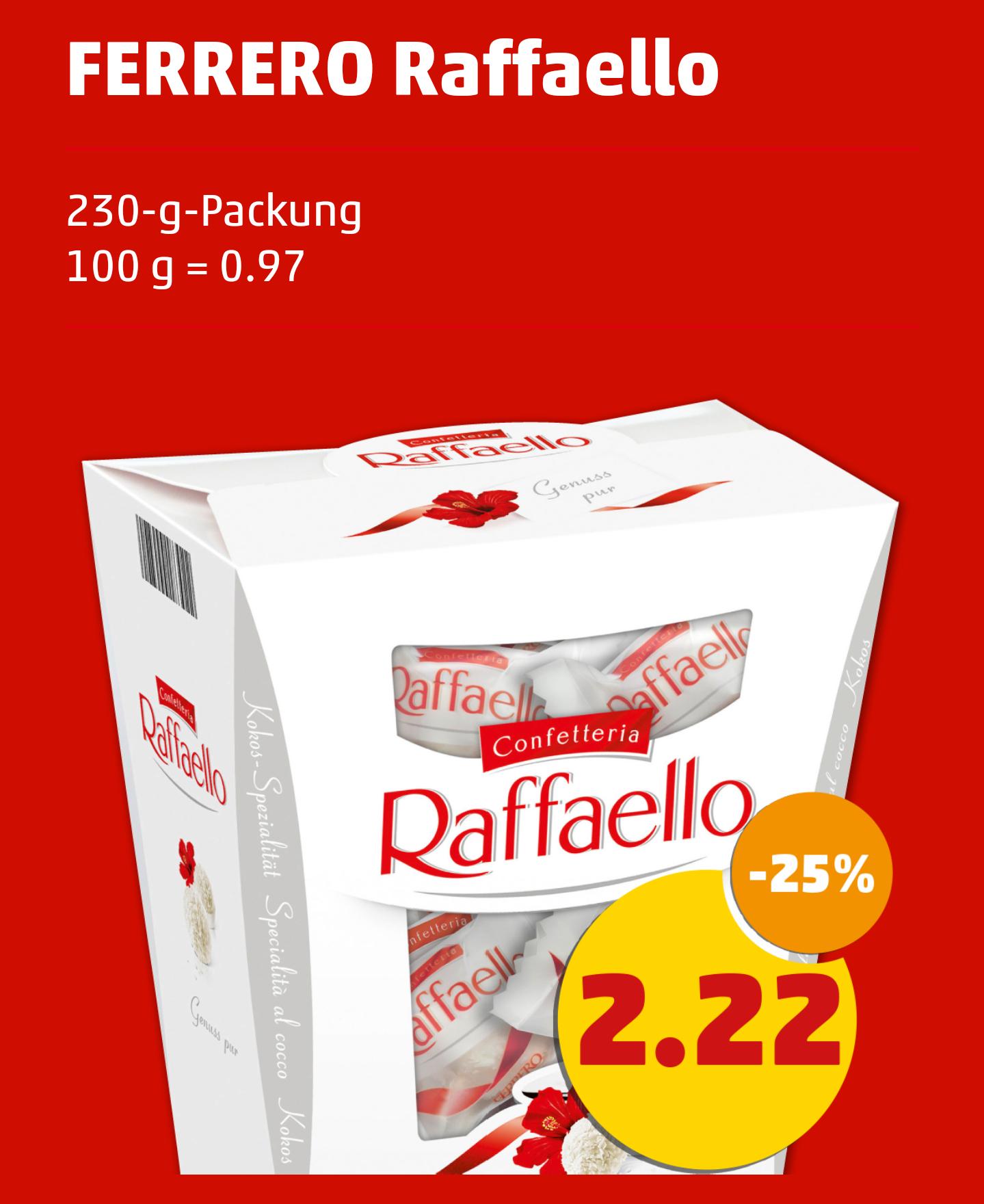 [Rewe + Penny] Raffaello in der großen 230g Packung für 2,22€ (diese Woche bis Sa. 24.12.)