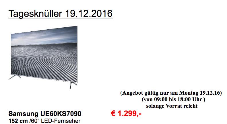Lokal Samsung UE60KS7090 für 1299,- bei Hickmann