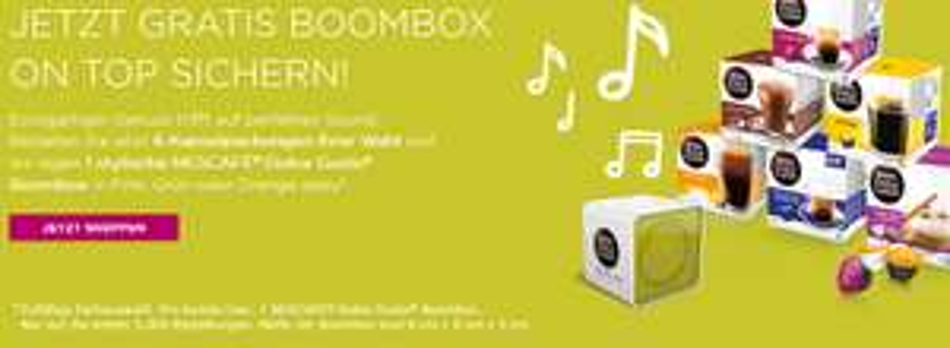 Dolce Gusto HEUTE EXTRA Boombox beim Einkauf sichern + VSK frei