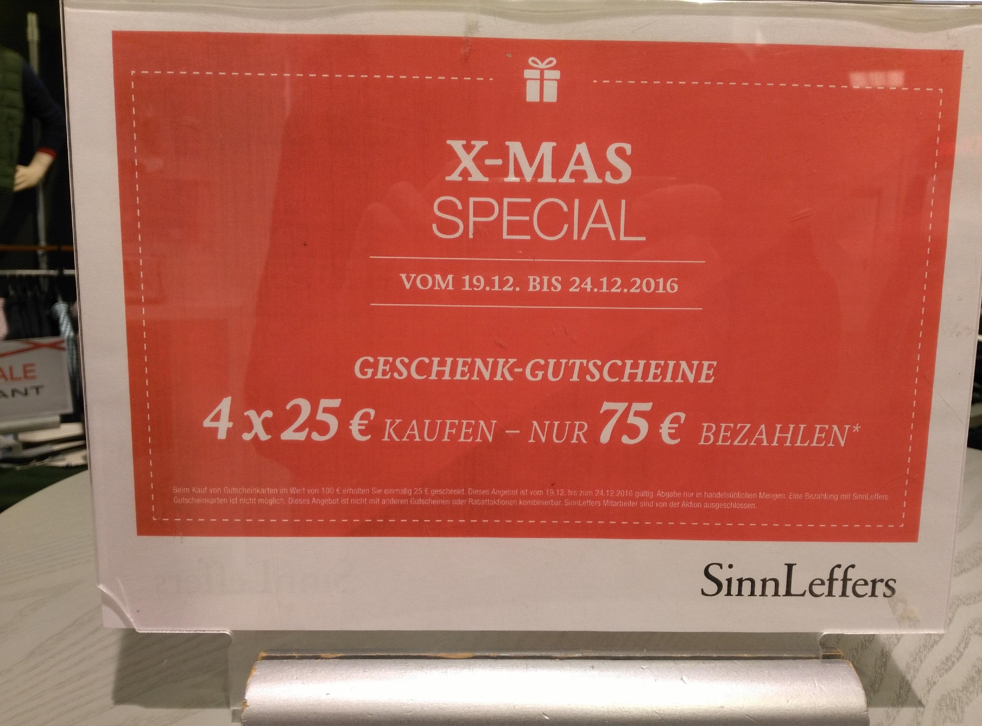 [Lokal Aachen, Kassel] SinnLeffers 100€ Gutscheine für 75€