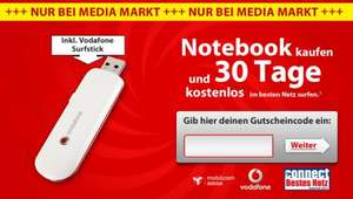 Vodafone K3565 UMTS-Stick inkl. 1 Monat Vodafone WebSessions Gutschein für 0€ inkl. VSK