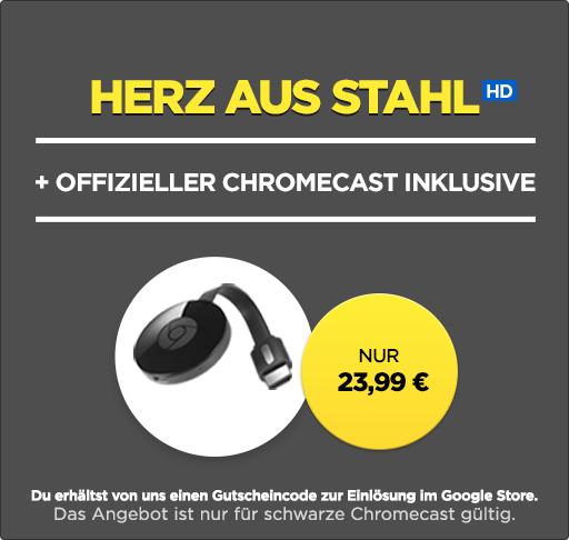 Wuaki Chromecast 2 + »Herz aus Stahl« [HD] für 23,99€
