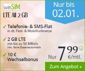 winSIM Allen-Flat und 2 GB Datenvolumen für 7,99 im Monat