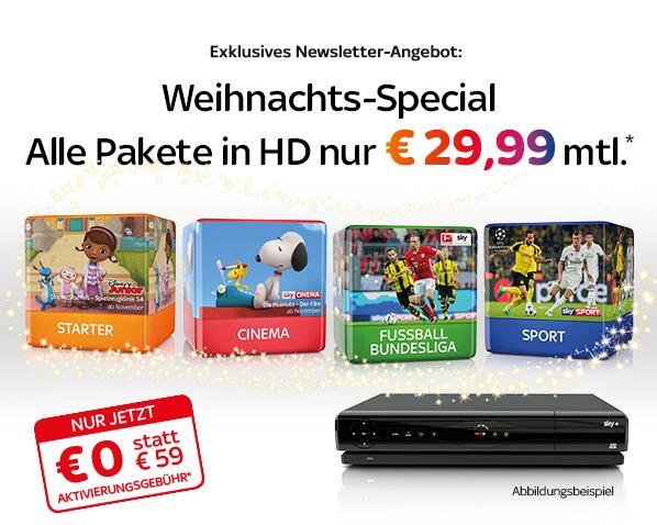 Sky Starter / Entertainment + 3 Premiumpakete für € 29,99 / € 34,99 mtl., zzgl. einmalig € 12,90