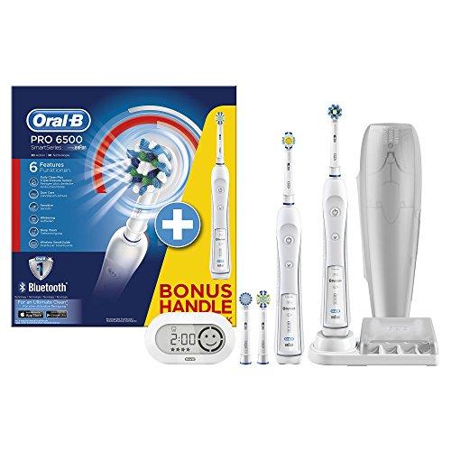 Oral-B SmartSeries 6500 Elektrische Zahnbürste mit 2. Handstück, mit Bluetooth, Timer, Aufsteckbürsten CrossAction, Sensitiv, 3DWhite