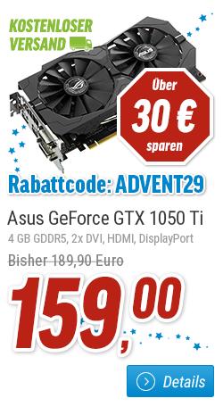 [nbb] Adventkalender Tag 21 - ASUS ROG Strix GeForce GTX 1050 Ti OC, 4GB GDDR5, 2x DVI, HDMI, DisplayPort für 159 versandkostenfrei