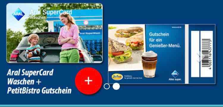 2x oder 5x Aral SuperCard Waschen (je 15€) + gleiche Anzahl PetitBistro Gutschein bei Dailydeal