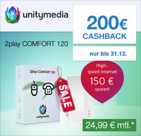 Unitymedia: Über Shoop 200€ Cashback + 60€ Onlinevorteil auf den Tarif 2Play Comfort 120 – 17,49€ monatlich