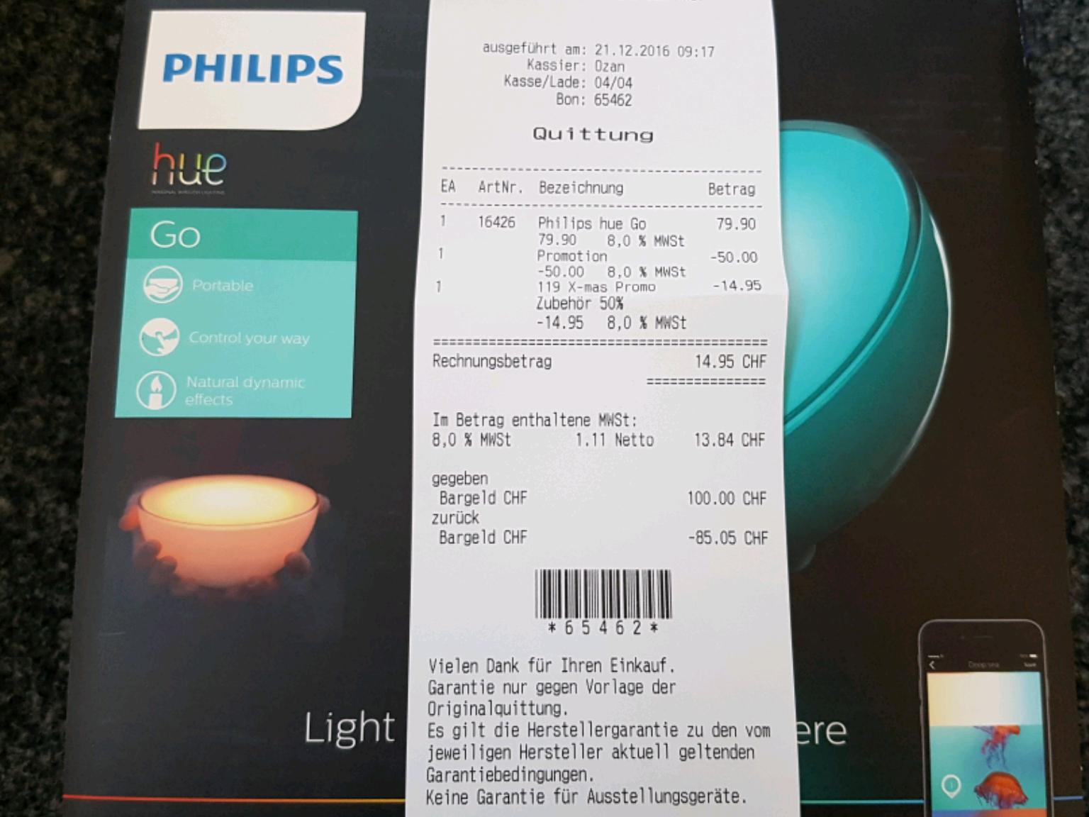 [Schweiz, Basel Stücki Shopping Center] Philips Hue Go