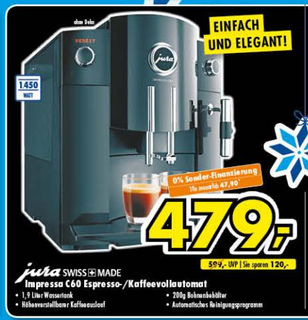 Jura Impressa C60 lokal für 479€ (Euronics Ratingen)