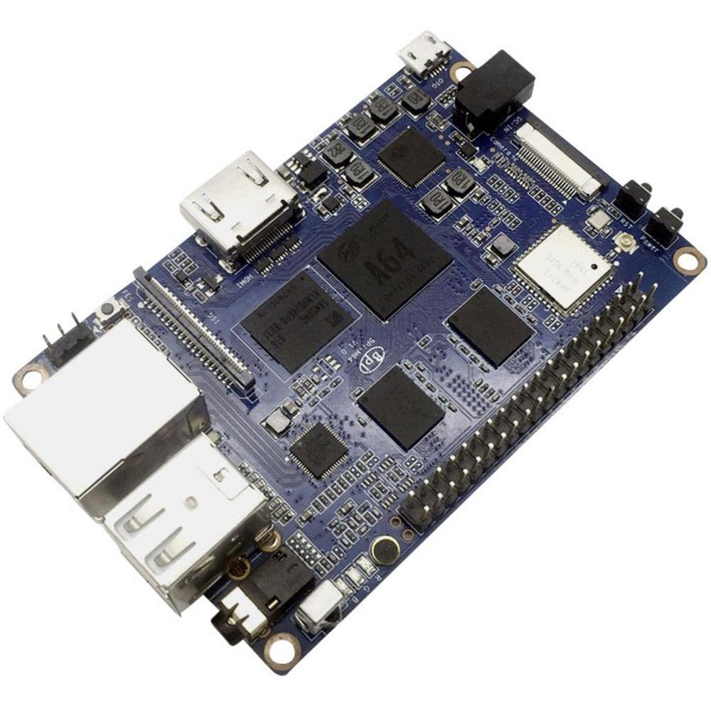 Banana Pi M64: 64 Bit Quad-Core 4x 1,2Ghz, 2GB DDR3 RAM, 8G eMMC, Gigabit Lan, 4K, HDMI, 3x USB 2.0, WIFI und BT 4.0 für 45,99€ (Conrad)