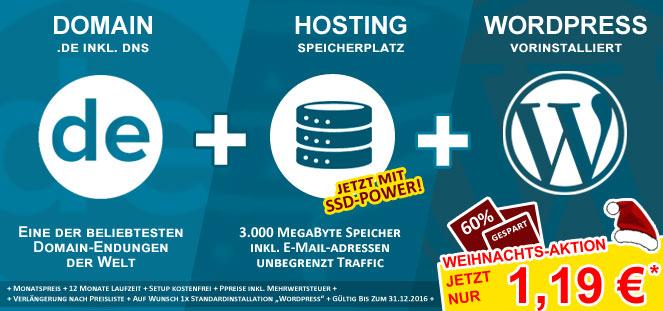 [do.de Aktion]: .DE Domain + Webspace + Wordpress für 1,19 € / Monat