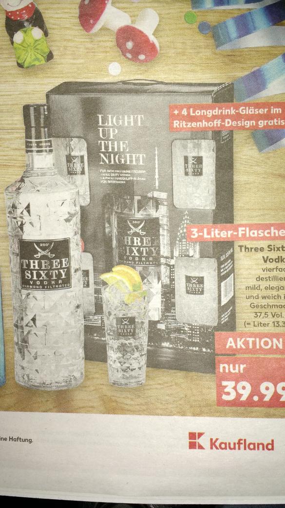 [Kaufland bundesweit] Three Sixty Vodka 3L + 4 Gläser für 39,99€