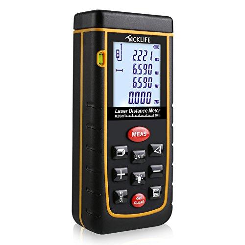40m Laser Entfernungsmesser (Messbreich bis 40m mit LCD Hintergrundbeleuchtung, Staub- und Spritzwasserschutz IP 54)
