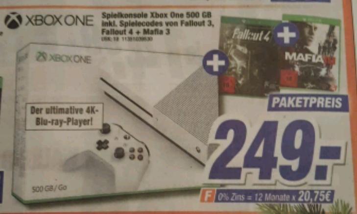 XBOX One S 500Gb + Fallout 3, Fallout 4 und Mafia 3 [Lokal Expert Klein]