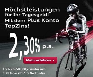 Tagesgeld bei der Audi-Bank - 50€ Cashback über qipu - 2.3% Zinsen bis Okt 2012