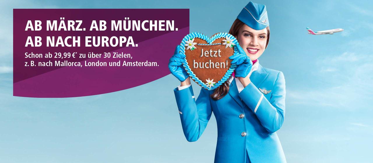 Eurowings fliegt demnächst ab März von München