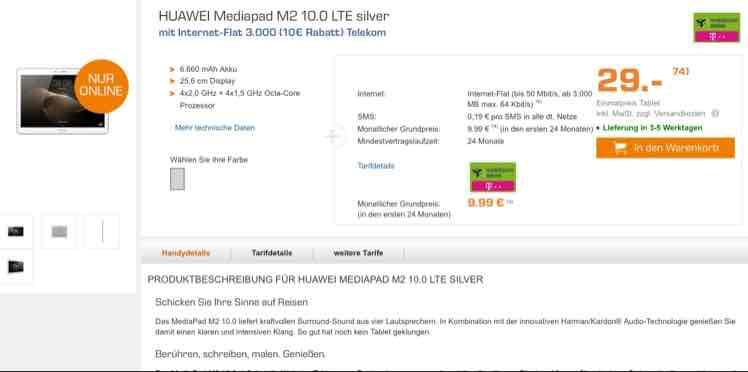 HUAWAI Mediapad M2 10.0 LTE mit Internet Flat 3.000 Telekom für 29 € mit monatlicher Grundgebühr 9,99 € (24 Monate Laufzeit) @saturn.de