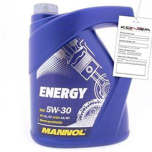 5 Liter MANNOL Energy 5W-30 API SL CF A3 B4 teilsynthetisches  Motoröl 5W30