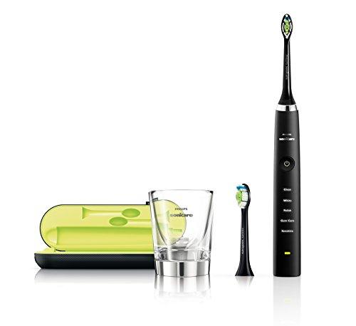 Philips Sonicare HX9352/04 DiamondClean Elektrische Zahnbürste mit Schalltechnologie, Black Edition, schwarz + 4er Vielfaltspack Aufsteckbürsten gratis