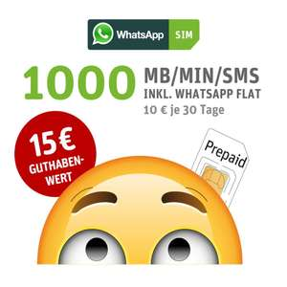 WhatsApp SIM Prepaid - Starterpaket mit 15 EUR Startguthaben für nur 6,90 Euro