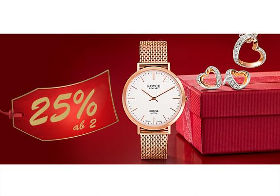 25% auf Uhren und Schmuck - Smartwatch Fossil Q zum Bestpreis 198€