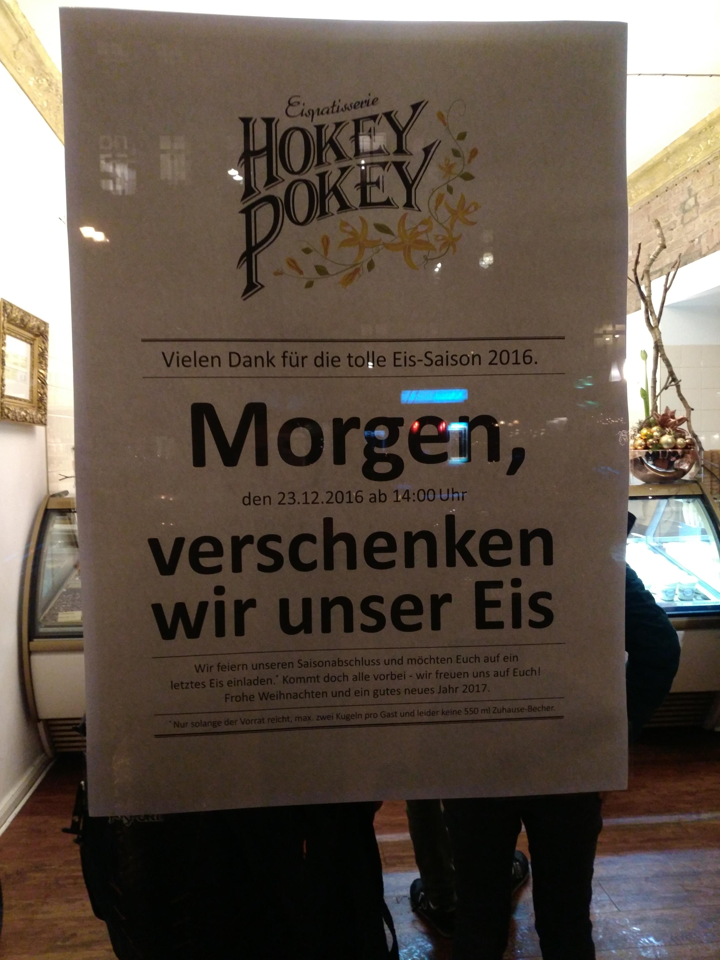 [LOKAL] 23.12 14:00Uhr Berlin Eis Stargarder Str. Hokey Pokey