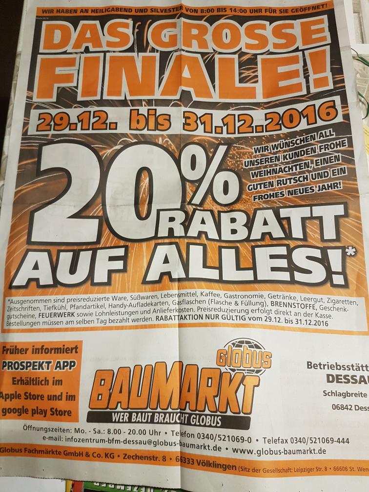 Bundesweit! 20% Rabatt auf alles Globus Baumarkt 29-31.12.