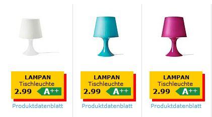 [IKEA Offline bzw. Online +VSK] Billige Tischlampe ,,Lampan'' mit E14 Fassung